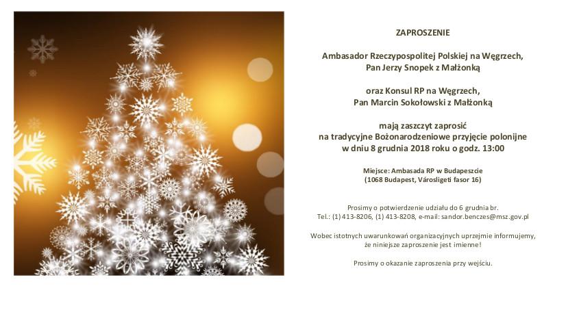Wigilia Bożego Narodzenia 2018 Zaproszenie Miskolc Megyei Jogú Város